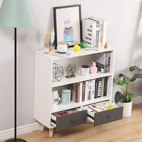 BATHRINS®Étagère de Rangement,Meuble de rangement escalier 2 niveaux bois blanc et gris avec porte et tiroirs.