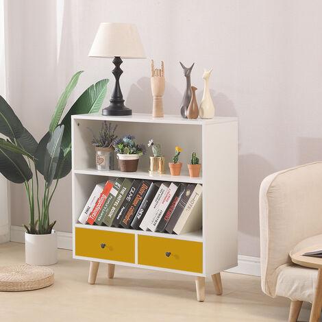 BATHRINS® Étagère de Rangement, Meuble de rangement escalier 2 niveaux bois blanc et jaune avec porte et tiroirs.