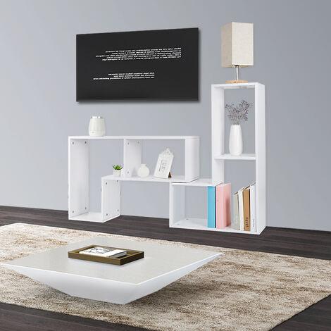 BATHRINS® Meuble TV, Support télévision, avec compartiments de rangement ouverts, Table console, avec étagères Blanc.