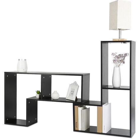 BATHRINS®Meuble TV, Support télévision, avec compartiments de rangement ouverts, Table console, avec étagères Noir.