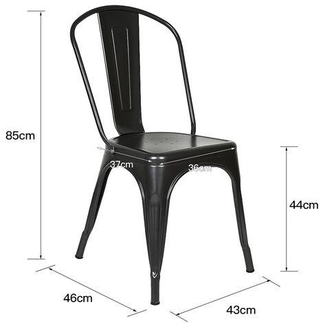 BATHRINS®Lot de 4 Chaise de Salle à Manger Industrielle-Chaise de Cuisine avec Dossier pour Jardin Balcon Bistrot Café Salon Exterieur Interieur Noir
