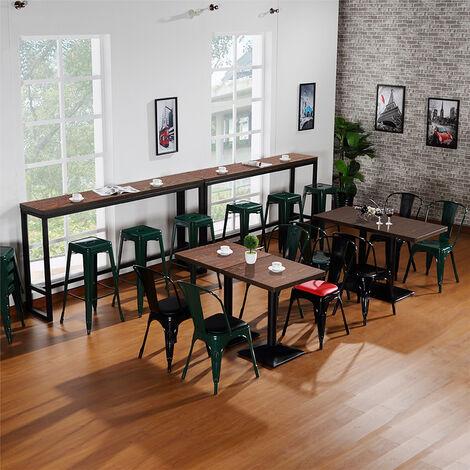 BATHRINS®Lot de 4 Chaise de Salle à Manger Industrielle-Chaise de Cuisine avec Dossier pour Jardin Balcon Bistrot Café Salon Exterieur Interieur Noir.
