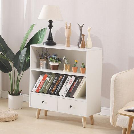 Étagère de Rangement,Meuble de rangement escalier 2 niveaux bois blanc avec porte et tiroirs.