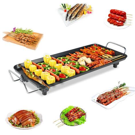 Plancha Electrique de Barbecue EN ACIER INOXYDABLE,68*28cm,NOIR