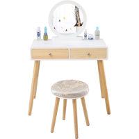 Coiffeuse design - 2 Tiroir avec coulisses - Miroir rond - tabouret housse lavable - 80 x 40 x 125 cm (L x l x h)