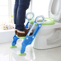 BATHRINS®Siège de Toilette Enfant Bébé Pliable et Réglable avec Marches Larges, Lunette de Toilette Confortable bleu vert