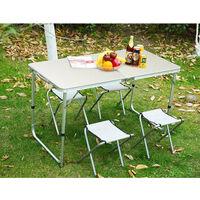 BATHRINS®Set Table pliante d'appoint portable+4 Chaises de Salle à Manger pour camping ou réception