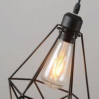 BATHRINS®Lot de 3 Suspension Industrielle Lampe de Plafonniers LED Retro Métal Lustre Noir