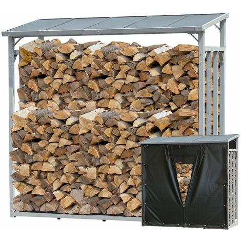 Aluminio Chimenea Madera Estante 143 x 70 x 145 cm Jardín Prinidor Refugio de 1.4 m³ de Madera Almacenamiento apilables Ayuda Exterior con protección contra el clima Negro