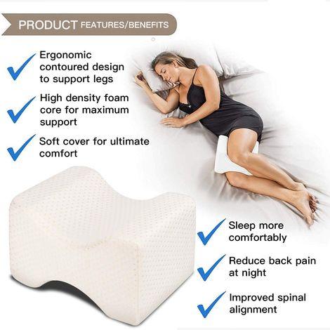 douleurs lombaires- Oreiller pour jambes pour dormir sur le c/ôt/é- Manuel inclus Bleu sciatique - Mousse /à m/émoire de forme orthop/édique pour dormeurs lat/éraux Oreiller pour les genoux