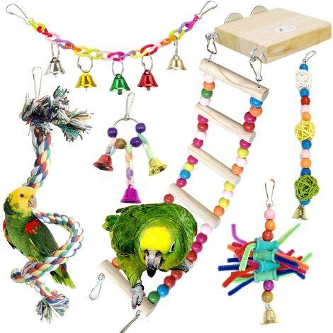 Jouets pour Oiseaux, 6 Pièces Bois Pieds Perchoirs avec Échelles, Balançoires, Escalade Perché pour Cages à Oiseaux de Petite et Moyenne Taille, Perroquets