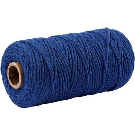Ficelle de Coton Bleu foncé de 100 m, Ficelle Artisanale de 3 mm d'épaisseur, Ficelle d'emballage Bleue pour Le Jardinage, la décoration et Les projets artisanaux