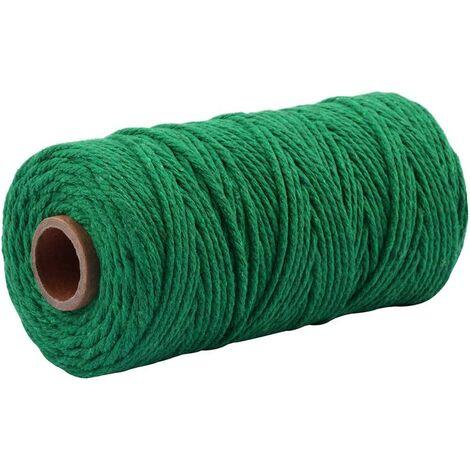 100m Ficelle de Coton Verte, Ficelle de Jardin épaisse de 3 mm Ficelle d'emballage Verte pour Ficelle de Jardinage, décoration et travaux artisanaux