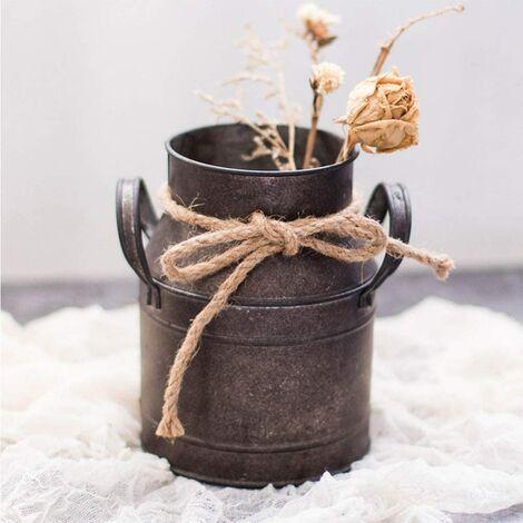 # 2 PETSOLA Vintage M/étal Fer Fleur Plantes Seau Fleur Vases Pot avec Poign/ée Maison Jardin Suspendu D/écoration Florale
