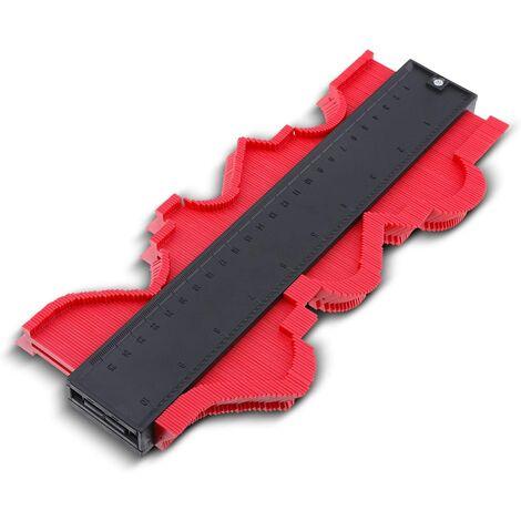 Jauge de contour, couteau de contour, jauge de duplication, duplicateur de stratifié pour emballer des tuyaux, outil de marquage du bois, copieur de profil avec échelle, compteur de contour irrégulier pour des mesures précises, rouge