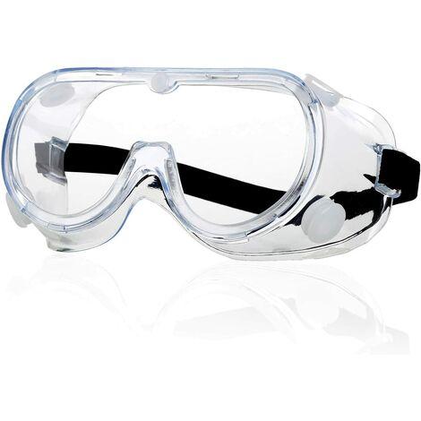 Lunettes de protection - Antibuée claire Lunettes de protection pour les yeux Ateliers Laboratoire Chantiers de construction Anti-salive Anti-crachats Lunettes anti-poussière fermées pour porteurs de lunettes