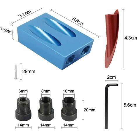 alliage daluminium Kit de gabarit de trou de poche Localisateur de per/çage oblique Guides de menuiserie double Outil dangle de joint Menuiserie