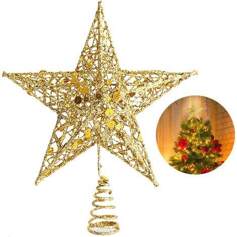 25.4cm Etoile Sapin Noël Pentagramme Decoration, Etoile de Noel Scintillant Arbre Noël Sapin Topper Or Ornements d'arbre de Noël Décor Treetop de Fête de Noël pour Sapin