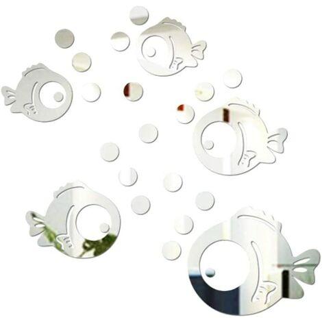 Sticker Mural Acrylique 3D Poisson et Bulles Autocollants Miroir pour Chambre Salon Salle de Bain décoration Argent