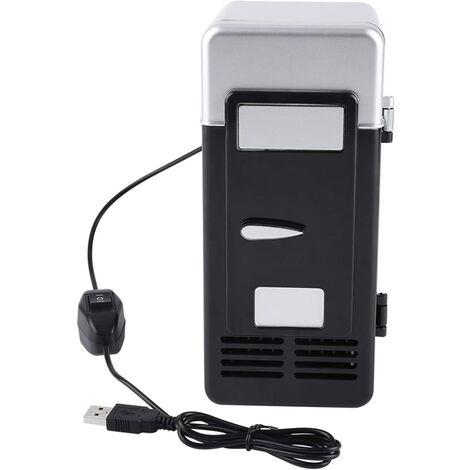 LED Mini USB Réfrigérateur Portable USB Réfrigérateur Boissons Canettes De Boisson Réfrigérateur et Chauffage Pour Voiture, Bureau Et Maison(Black)