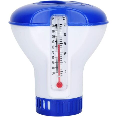 Chlore Piscine Galet Flottant Thermomètre de Chimique Flottant Distributeur de Chlore de Piscine Chimique avec Support de Tablette thermomètre