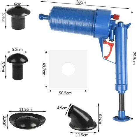 Déboucheur Canalisation à air comprimé, Pompe haute pression avec 4 Différentes Ventouses pour Débouche Evier Cuisine Baignoire et Toilette