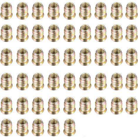 Douilles à Visser M6 Inserts de vis à Six Pans Creux Écrou D'entraînement Hexagonal pour Meubles Kit D'outils pour L'assortiment D'écrous D'insertion pour Meubles en Bois (M6 *15mm), 50 Pcs