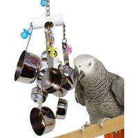 Jouet d'oiseaux en Bois Corde pour Perroquets Multicolore Jouet d'animaux avec Clochettes