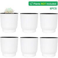 d'arrosage Automatique Pots de Fleurs, 10CM Plantes en Plastique avec Niveau d'eau Visuel - Lot de 6, Pot pour Aloès, Herbes Succulentes, Home Decor Pots de Fleurs - Blanc
