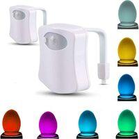 Lampe de Toilette Veilleuse LED Détecteur, 2 pièces,8 Couleurs Changeantes Détecteur Automatique à DEL Détecteur de Nuit à Activation Automatique De Toilette Pour la Salle de Bain