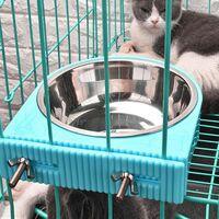 Caisse Chien Bol Amovible en Acier Inoxydable Gamelle à Suspendre pour Animal Domestique Cage Petit Bol d'eau Feeder Nourriture pour Chiens Chats Lapins Birdsgreen Pet Supplies(bleu)