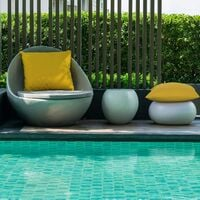 Lot de 4 housses de coussin décoratives imperméables pour l'extérieur, étui de coussin imperméable pour jardin et balcon pour patio carré, coque d'oreiller en revêtement PU pour canapé, lit, patio, canapé, tente, 18 x 18 pouces (jaune doré)