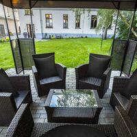 Lot de 4 housses de coussin décoratives imperméables pour l'extérieur, housse de coussin imperméable pour balcon de jardin carré, coque d'oreiller en revêtement PU pour canapé, lit, terrasse, canapé, tente, 18 x 18 pouces (noir)