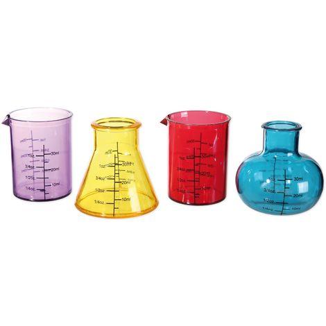 Shooter Gläser Chemistry Set Schnapsgläser 4-fach sortiert, aus Kunststoff, Fassungsvermögen ca. 50 ml.