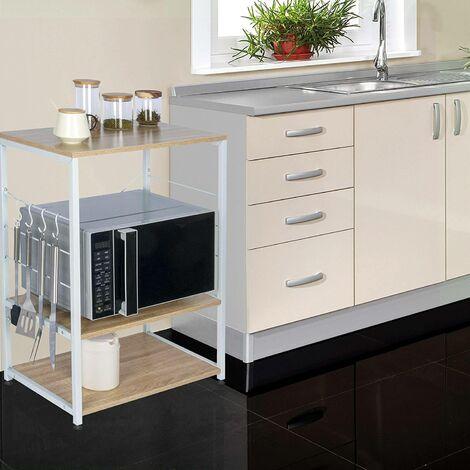 Standregal aus Holz & Metall mit 3 Ablagen für Küche eiche hell