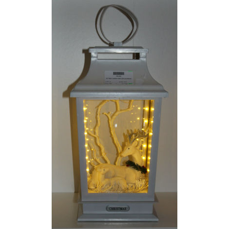 "Xmas Decoration 15"" Musical WHITE Light up Lantern w Reindeer / Deer family"
