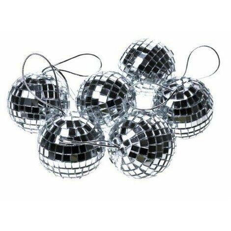 Christmas Decoration - Silver 6 x 60mm Mirror Mosaic Disco Ball Baubles Ornament
