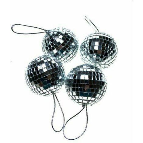 Christmas Decoration - Silver 4 x 70mm Mirror Mosaic Disco Ball Baubles Ornament