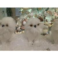Christmas Display Decoration - 3 Plush Small Snowy White Owl birds Glitter owls