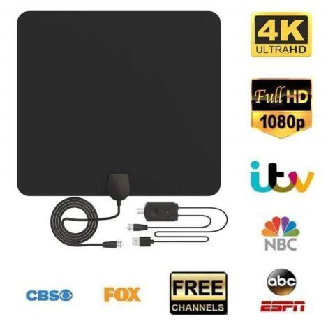 Antenne TV Interieur Puissante, Pictek Antenne TNT Interieur HD Puissante, Rayon de 56 km Ultra Plate- Fine (Noir)
