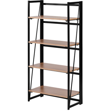 Bibliotheque rustique a 4 niveaux, bibliotheque industrielle en bois et metal, etagere debout pour decorations ou rangement, chene