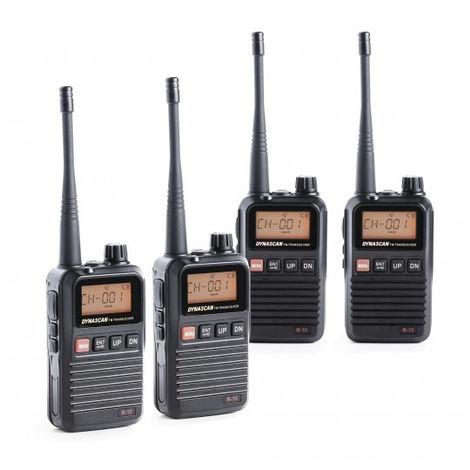 Pack de 4 talkies-walkies Pmr446 8 canaux, portée jusqu'à 10 km Radio FM, Scanner, batterie lithium R10 R10x4 Dynascan