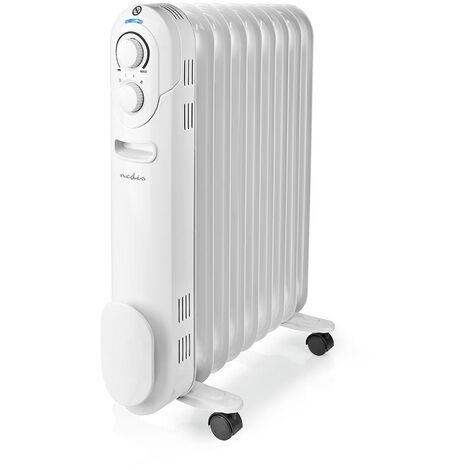 Nedis Radiateur mobile d'huile | 800 / 1200 / 2000 W | 9 Fins | Thermostat réglable | 3 Réglages de Chaleur | Protection contre les chutes | Blanc NE550716704