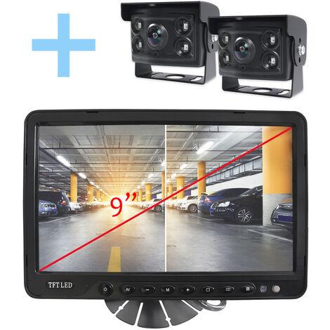 """Rear View and Reverse View System Yatek pour tous les types de véhicules, écran 9"""" avec 4 entrées, comprend 2 caméras à angle de 170° avec vision nocturne."""