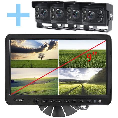 """Rear View and Reverse View System Yatek pour tous les types de véhicules, écran 9"""" avec 4 entrées, dont 4 caméras à angle de 170° avec vision nocturne."""