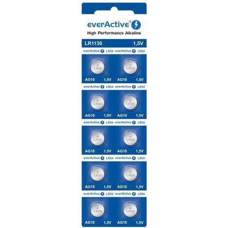 Mini piles alcalines everactive g10 lr1130 lr54