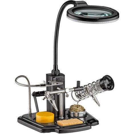 Loupe de table à LED Support pour fer à souder et pince à épiler