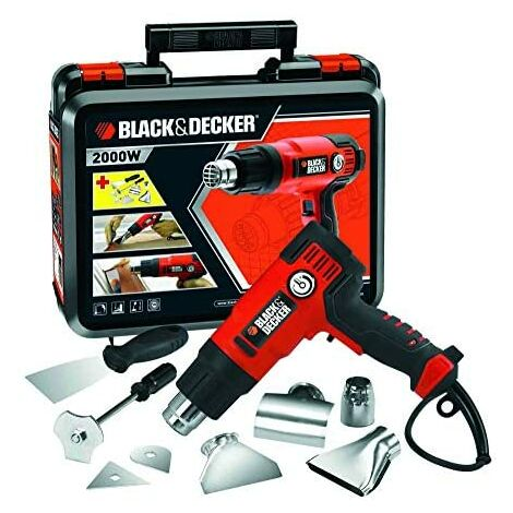 BLACK+DECKER KX2200K-QS - Décapeuse 2 000 W, jusqu'à 645˚C, 230 V, 8 accessoires et mallette de transport inclus.