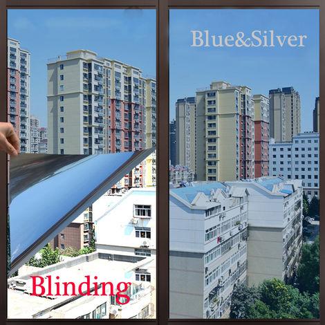 5x50CM Film Autocollant Pare-soleil Teinte Sticker Adhésif Fenêtre intimité Voiture Vitre Décoration-bleu et argent