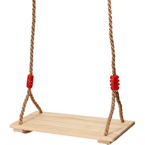 Balançoire Siège de Bois Bouleau Jouet Jeux Plein Air Jardin pour Enfant Adulte 40x16x1.2cm